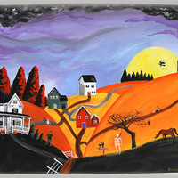 Hilly Haunting 16x20 Halloween Original Folk Art Painting w/ Spooky White House