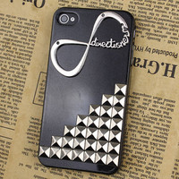 "Silvery Stud With One Direction ""Directioner"" Infinity  Black  Hard Case Cover for Apple iPhone 4g/4s"