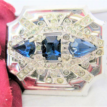 McClelland Barclay Brooch, Art Deco Sapphire Blue, Vintage Jewelry, 30's  Rhinestone Pin