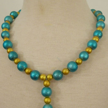 Girls Necklace-Green and Gold-Girl-Children--#342