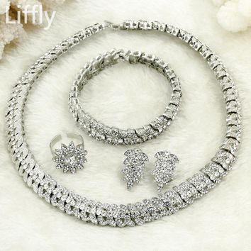 Free Shipping! 2018 High Quality Italian Women Fashion Bride Wedding Silver Jewelry Necklace Ring Earrings Crystal Jewelry Sets