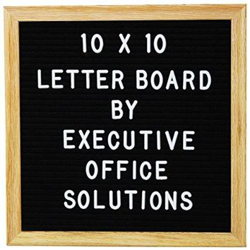 10 X 10 Changeable Letter Board - Black Felt With Solid Oak Frame, Wall Mount, Canvas Bag, and 290 Characters