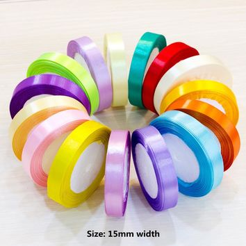 1.5cm (25 Yard 22m) Satin Ribbons Wedding Party Decoration Gift Craft Sewing art Fabric Braided hair Ribbon Cloth Tape DIY