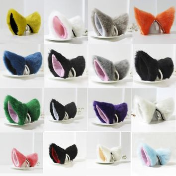 Party's Cat Fox Long Fur Ears Anime Neko Costume Hair Clip Cosplay