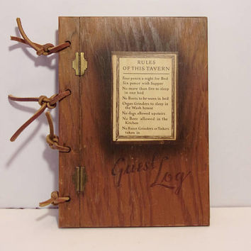 Vintage Wooden Tavern Guest Log Book Rustic Lodge Home Decor