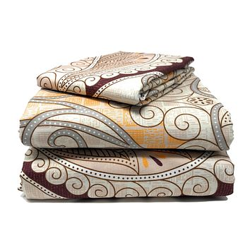 Tache Maroon Mandala Fitted Sheet (2131FIT)