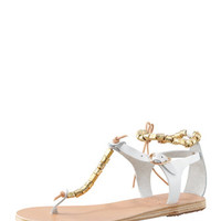 Ancient Greek Sandals Chrysso Beaded Vachetta Thong Sandal, White