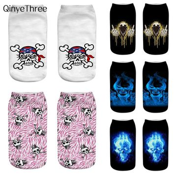 Women Low Cut Ankle Socks Skull 3D Printed Cotton Hosiery Punk Gothic