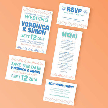 Printable Wedding Save the Date- Colorful Tribal Invite - DIY Digital Ready to Print Invitation