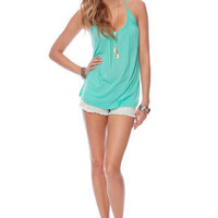 Now and Henley Tank Top in Emerald :: tobi