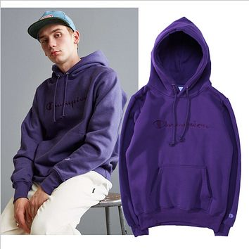 Champion Seiko embroidered hooded sports plus velvet hoodie lovers Purple