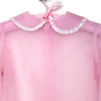 Vintage Blouse Sheer Pink Organza Long Sleeve Kate Greenaway