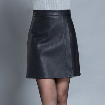 2016 New Fashion Autumn Winter Womens Black Above Knee Black A-Line Formal Skirt  Female Woman M-4XL Irregular Leather Skirts