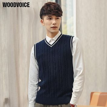 Woodvoice 2017 Brand Mens' Pullover Sweater Vest V-Neck New Sweater 100% Cotton Knitted Slim Fit Class Vest Pullovers Sweaters