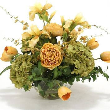 Traditional Floral Mix In Gold and Green Tones With Peony, Hydrangea, Iris, Tulips and Orchids In Round Glass Bowl