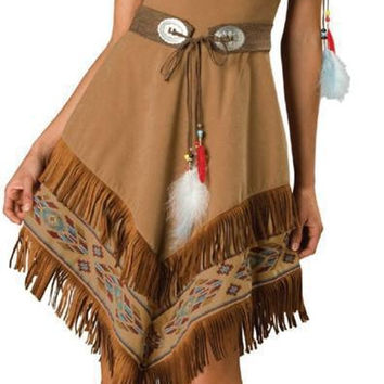 Ladies Pocahontas Native American Indian Wild West Fancy Dress Party Costume indian costume