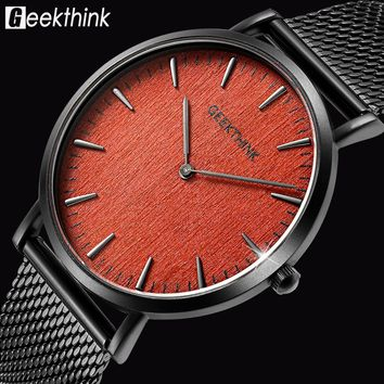 GEEKTHINK Brand ultra slim Top thin Quartz-Watch Men Casual Wooden Face Stainless Steel JAPAN Analog Watch Relogio Masculino