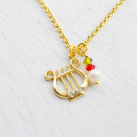 Alpha Chi Omega,Gold Lyre Necklace,Olive and Red,Sorority Symbol Necklace,Sorority Jewelry,Music Instrument Necklace,Hard Charm Necklace