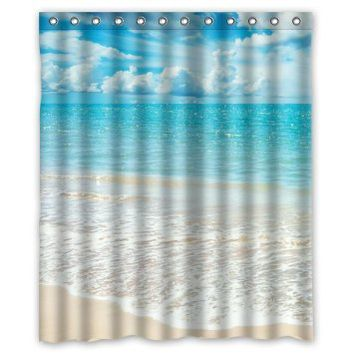 "Beach Theme Custom Ocean Waves California Paradise Custom Polyester waterproof Bath Shower Curtain Rings Included 60"" x 72"""