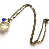 Navy Blue Cobalt Handblown Glass Drop Dewey Decimal Mini Pendant Librarian Brass Library Card Necklace