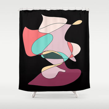 Abstract 1 (Black) Shower Curtain by DuckyB (Brandi)