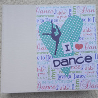 6x6 Dance Scrapbook Album in Turquoise Purple Pink