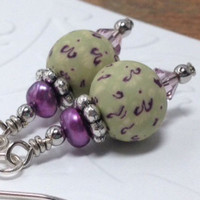 Lime Green and Purple Pearl Earrings,Pastel Green Polymer Clay Bead,Mini Purple Pearl Earrings,Pearl and Clay Earrings,Short Green Earrings
