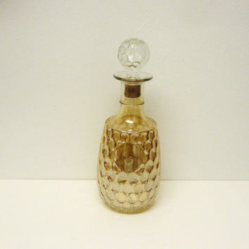 decanter - gold carnival glass decanter - vintage