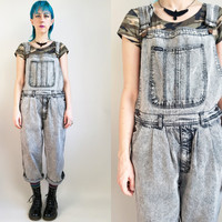 90s Clothing Denim Overalls Vintage Grey Acid Wash Overalls Cropped Overalls Oversized Baggy Overalls 90s Clothes Size Medium Large