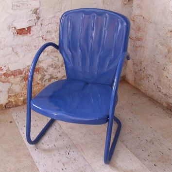 Royal Blue Vintage Metal Shell Back Lawn Chair by stilettogirl