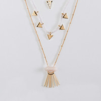 Crystal Triangle Tiered Short-Strand Necklace