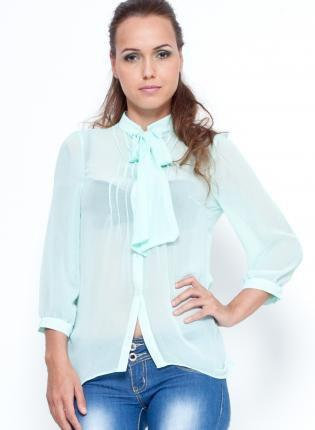 Mint Tie Collar Blouse with 3/4 Length Sleeves