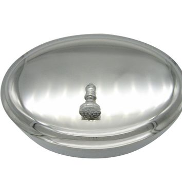 Silver Toned Chess Bishop Piece Oval Trinket Jewelry Box