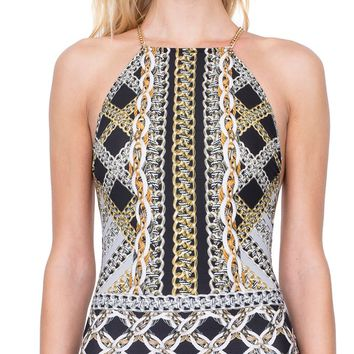 Gottex Chains Of Gold High Neck One Piece Swimsuit 19CG-149-018