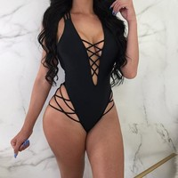 Contoured & Criss-Crossed One-Piece