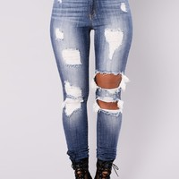 Holly Extreme Distressed Jeans - Medium Blue