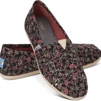 TOMS Black Floral Vegan Women's Classics Slip-On Shoes,