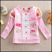 New spring and autumn style Pure cotton Long sleeve T-shirt , Love with bowknot , Children's clothes A1 (5pcs/lots)