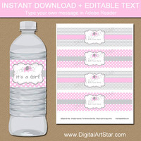 Pink Elephant Baby Shower Water Bottle Labels - Pink Gray Chevron Elephant Pink Polka Dot Elephant Baby Shower Decorations INSTANT DOWNLOAD