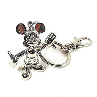 Mickey Mouse Articulated Keychain Disney Silver Tone Key Chain Keys m122