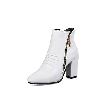 557759581fd8 Pointed Toe Pu Leather High Heel Ankle Boots Women Shoes 6756