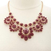 Floral Gem Statement Bib Necklace by Charlotte Russe - Oxblood