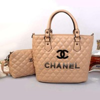 CHANEL Women Shopping Bag Leather Handbag Shoulder Bag Two Piece Set