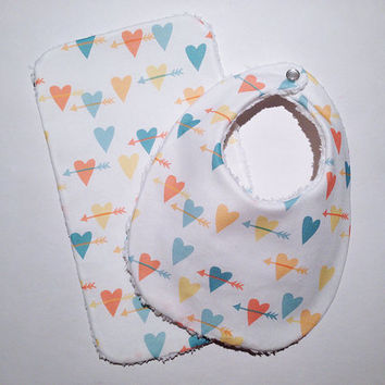 Hearts & Arrows Burp Cloth and Bib Set, Muti Color, Hearts, Arrows, Limited, Modern, Trendy, Burp Cloth, Bib, Baby/Toddler, Baby shower gift