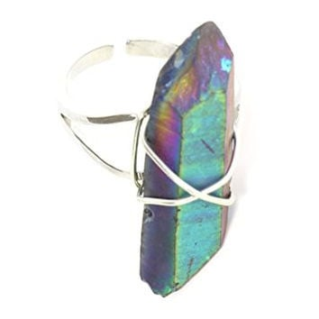 Rainbow Quartz Crystal Ring Silver Tone Wire Setting RL09 Cocktail Statement Fashion Jewelry