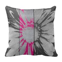 Beautiful pillow with grey and pink flower cushions