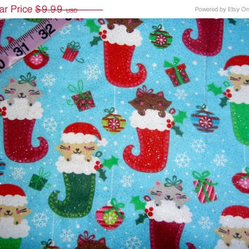 Flannel Christmas fabric with glitter cats in stockings presents ornaments cotton quilting sewing material by the yard 1yd BTY