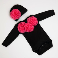 Newborn Baby GIrl Onesuit Black Long Sleeve Onesuit Set with Hot Pink Chiffon FLowers