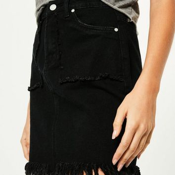 Missguided - Black Fray Detail Denim Mini Skirt