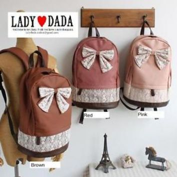 JAPAN Vintage Ribbon Bow Lace Leather Backpack School Campus Christmas Gift Item